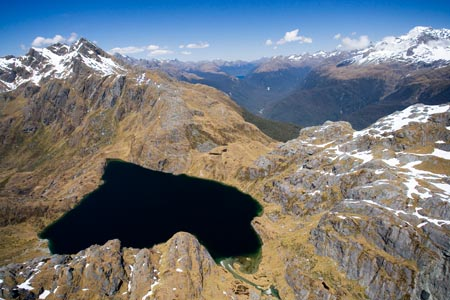 Lake Harris and Routeburn Track, Harris Saddle, and Hollyford Valley, Fiordland National Park, South Island, New Zealand - aerial