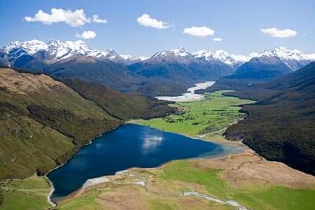 Diamond Lake, Paradise, near Glenorchy, South Island, New Zealand - aerial