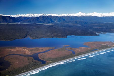 Okarito Lagoon, West Coast, South Island, New Zealand -  aerial