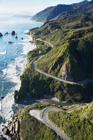 State Highway Six at Ten Mile Creek, north of Greymouth, West Coast, South Island, New Zealand - aerial