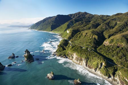 Twelve Mile Bluff and Motukiekie Rocks, north of Greymouth, West Coast, South Island, New Zealand - aerial