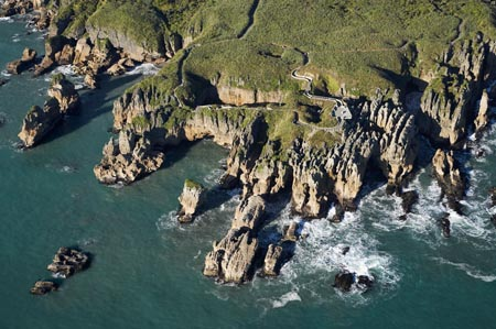 Pancake Rocks, Punakaiki, Paparoa National Park, West Coast, South Island, New Zealand - aerial