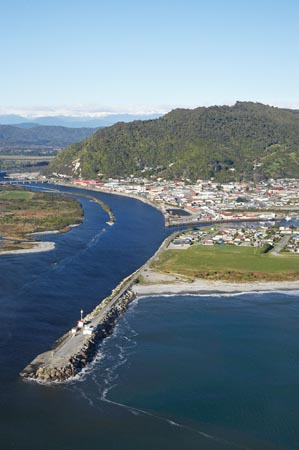Grey River and Greymouth, West Coast, South Island, New Zealand - aerial