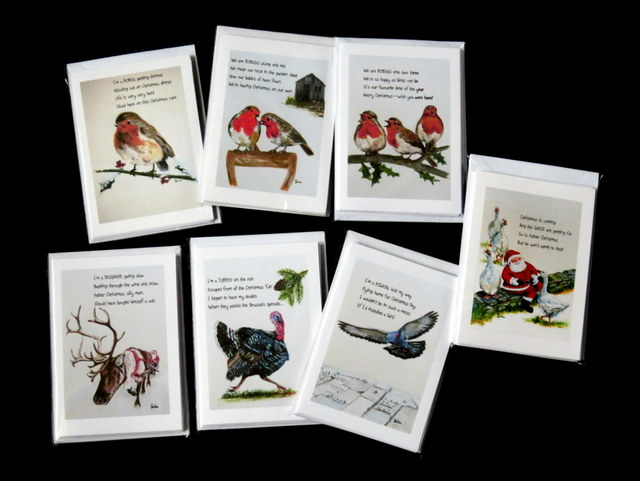 Christmas Collection 6-Card Packs: Geese,Reindeer,Turkey,Pigeon and 3 Robin Designs