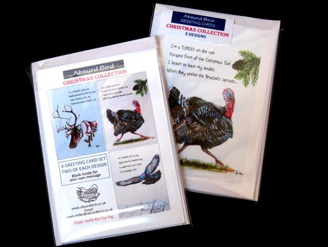 "Christmas Collection - 3 designs: ""Reindeer"", ""Turkey"", ""Pigeon""; 2 cards each design"