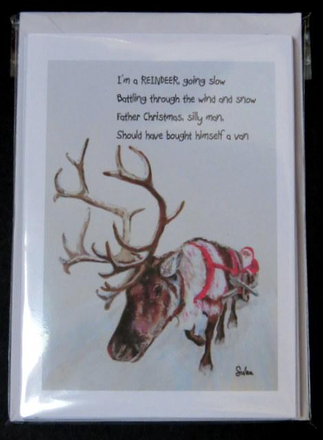 """I'm a Reindeer, going slow"": Single design set of 6 cards"