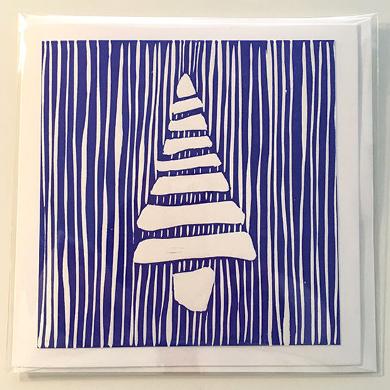 Blue tree with stripes