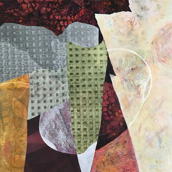 """Acrylic and handprinted papers on board, 12"""" x12"""" £200 unframed"""