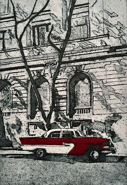 Morning shadows - Havana, collagraph print 34x23cm, £95 unframed (variable edition of 10),