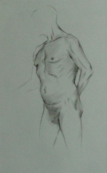 Torso Study - Charcoal on paper 35 x 25 cm