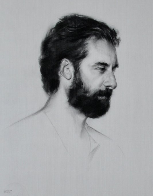 Profile of Radi - charcoal on paper 60 x 45 cm