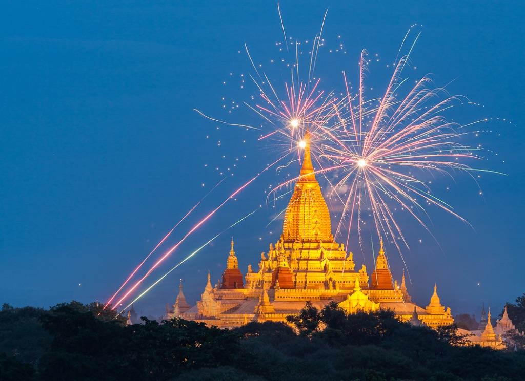 Fireworks Ananda Temple Bagan