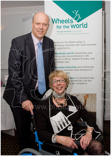 Chris Grayling MP and <i>Wheels for the World</i> CEO Jacky Oliver