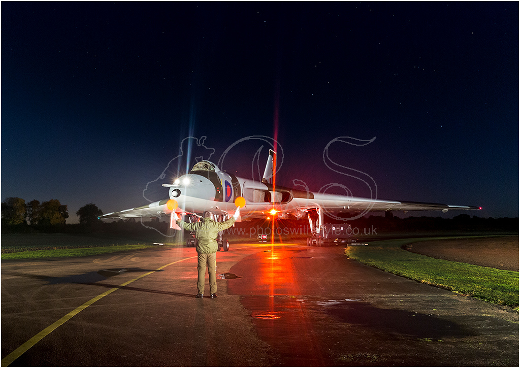 Vulcan bomber under a clear night sky