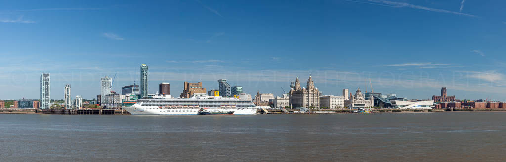 Liverpool waterfront with cruise ship
