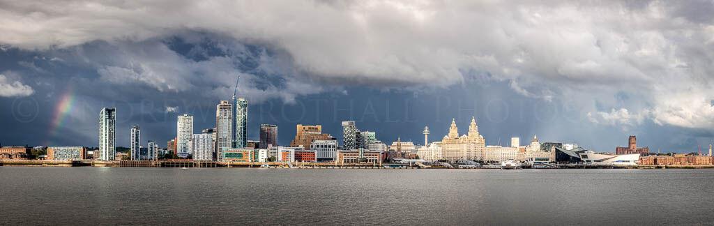 Liverpool waterfront under stormy skies