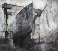 Adam Kennedy, Clyde shipyard study, 64x57cm, Mixed media