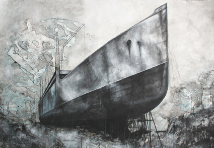 Adam Kennedy, Construction on the River Clyde, 129X89cm, Mixed media