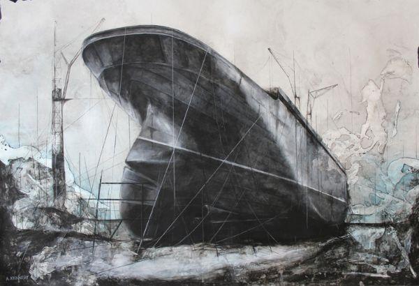 Adam Kennedy, Dry dock constructions, 128X89cm, Mixed media