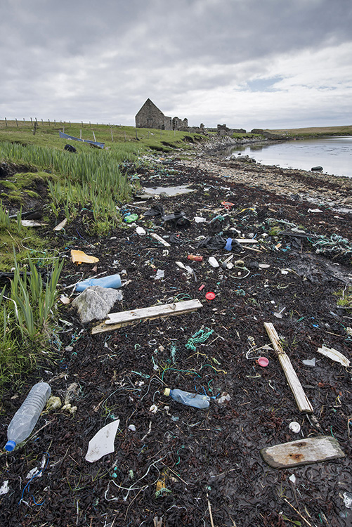 Rubbish on remote Scottish loch. Shetland.