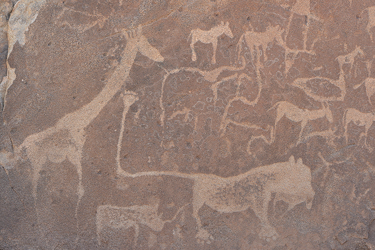 Ancient Rock Carvings, approximately 2,000 years old, Twyelfontein, Namibia