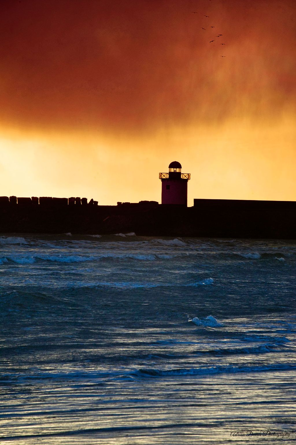 Burryport Lighthouse approaching storm