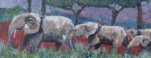 Elephants in moonlight, oil on canvas 510mm x 200mm
