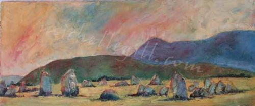 Castlerigg Stone Circle, oil on canvas 610mm x 255mm. <br> (Prints available)