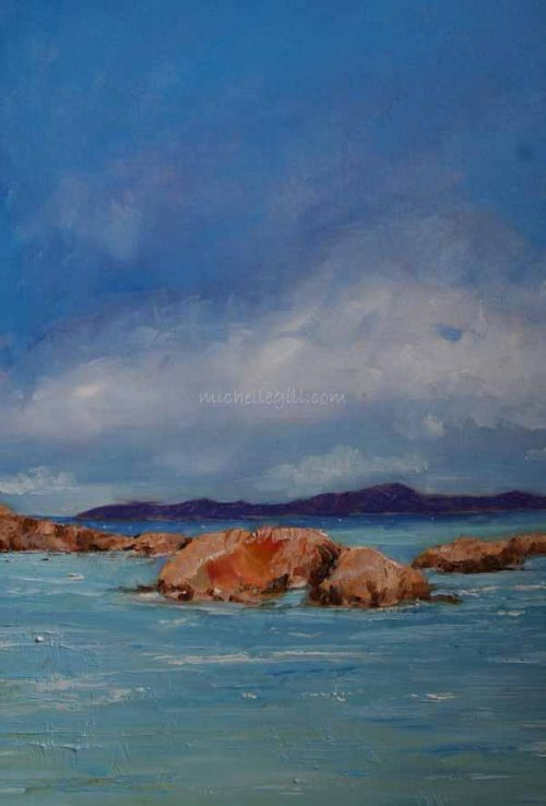 Mull towards Iona, oil on canvas board 610mm x 455mm
