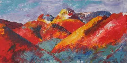 Langdale Pikes, oil on canvas, 610mm x 305mm<br>