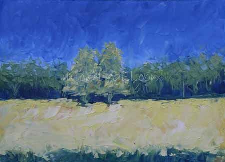 Yellow field. Oil on paper 400mm x 290mm