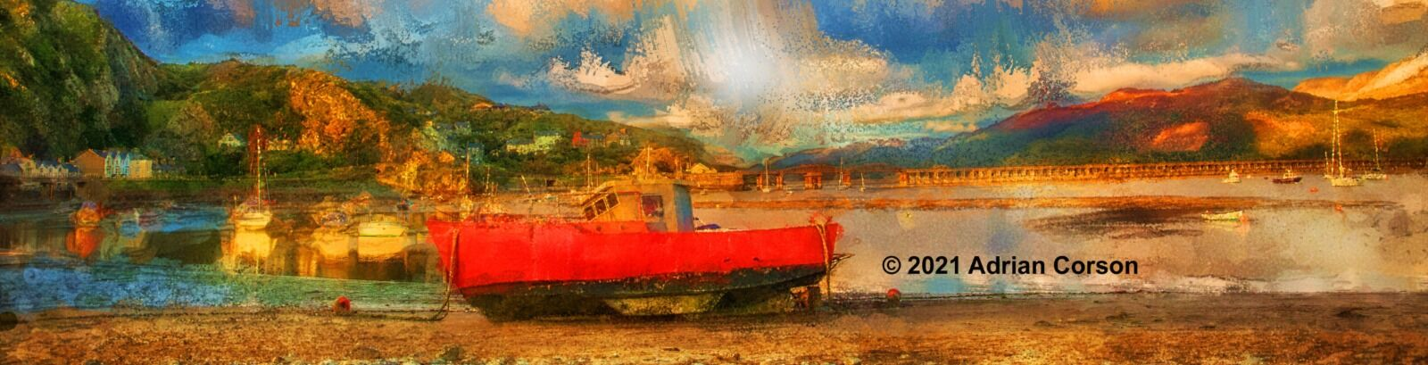 130-red fishing boat