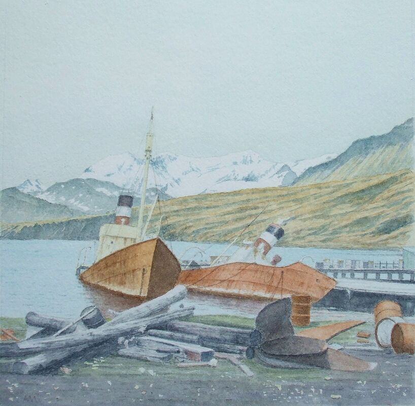 Abandoned - Whaling Boats, Grytviken: watercolour: private collection