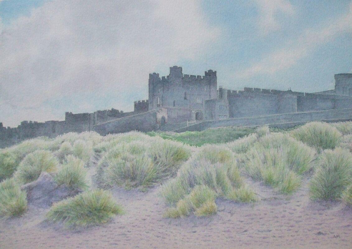 Bamburgh Castle: watercolour: private collection