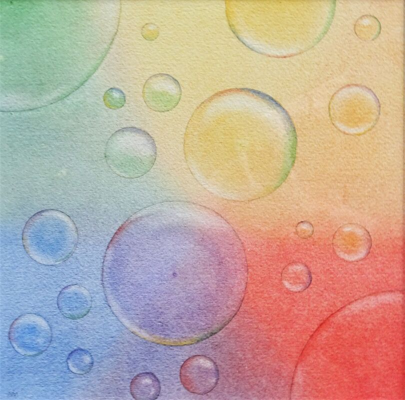 Bubble Art (2): watercolour: £ 60: 33 x 33 cm