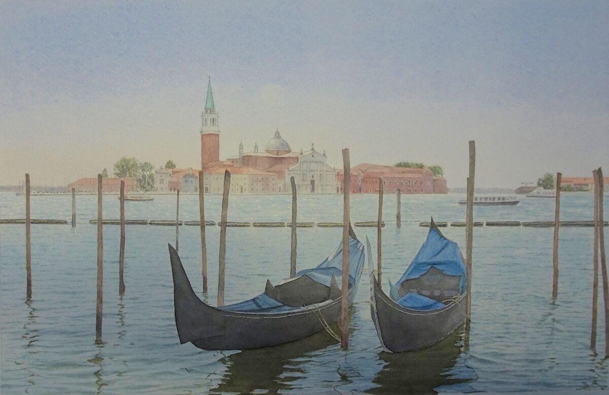 Isla St Giorgio, Venice: watercolour: private collection