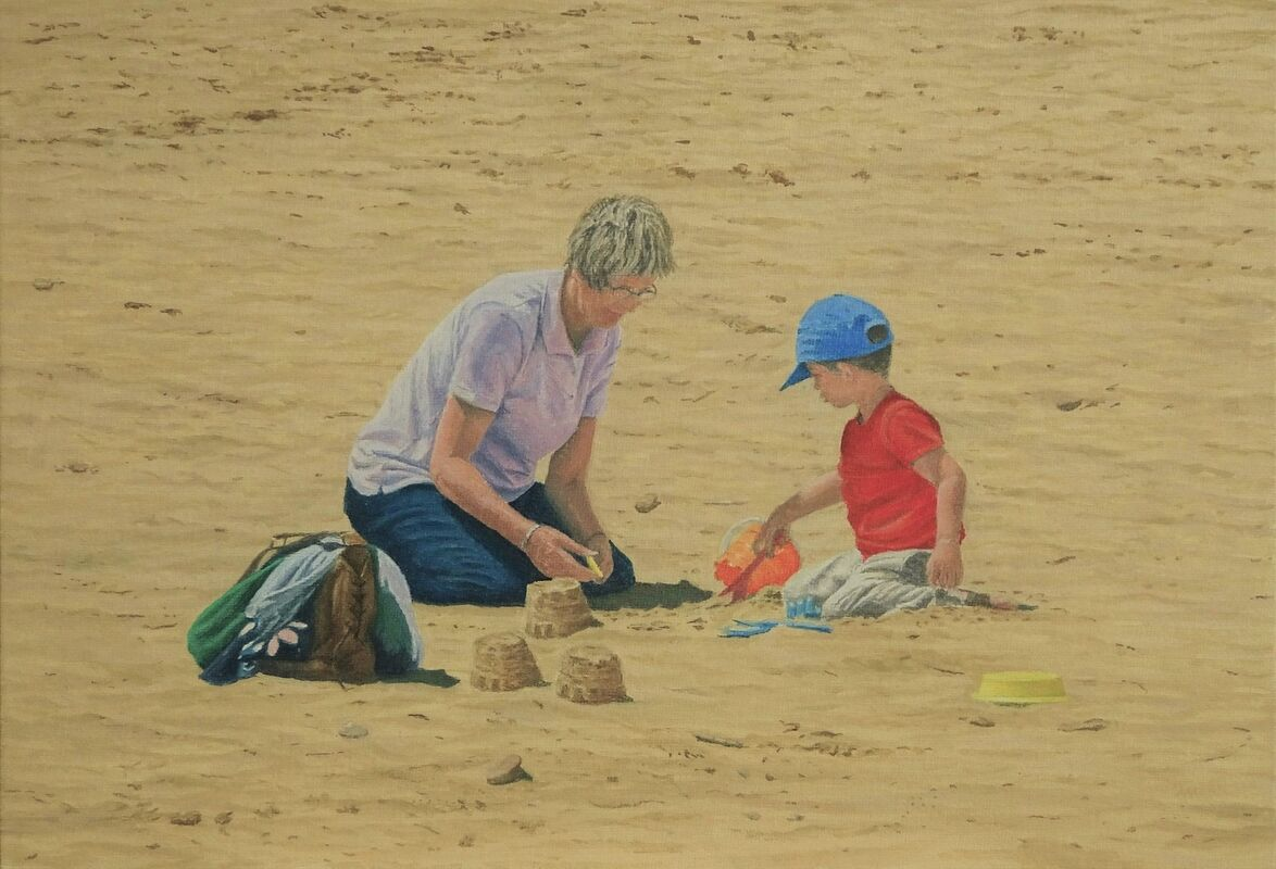 Learning to build Castles: oil : £150: 44x33 cm