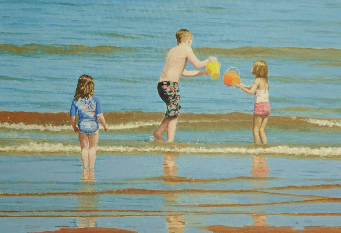 Paddlers: oil: £150: 44x33 cm