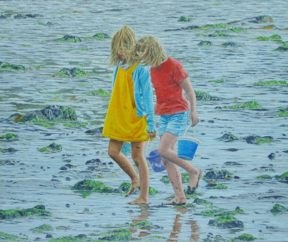 Sharing Secrets: oil: £150: 39x34 cm