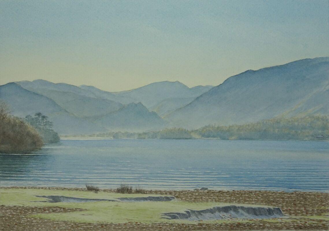 Winter's Morning Derwentwater: Watercolour: £160: 56x45 cm