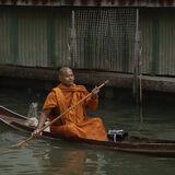 Paddling waterway in floating market