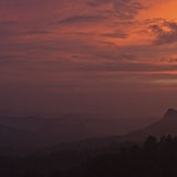 sunset over the hills of Munnar
