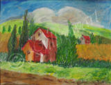 RED ROOFS Oil Pastel
