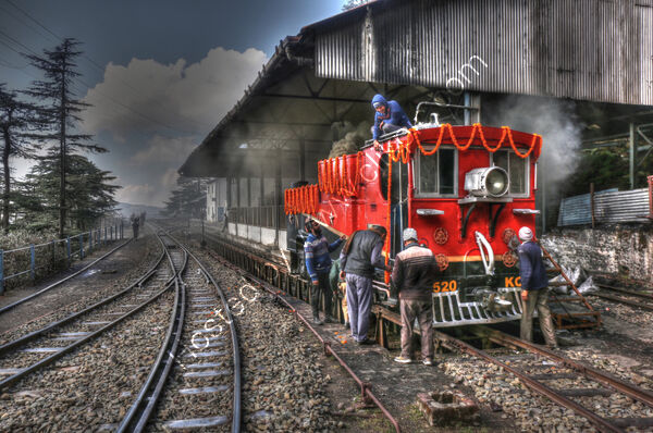 Highly Commended - Peter Evans - Heritage Steam Engine KC520 being spruced up at Shimla Railway Station