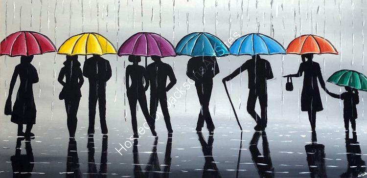 silhouettes and umbrellas