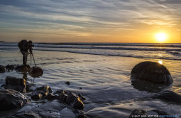 Andy shooting a Moeraki Sunrise