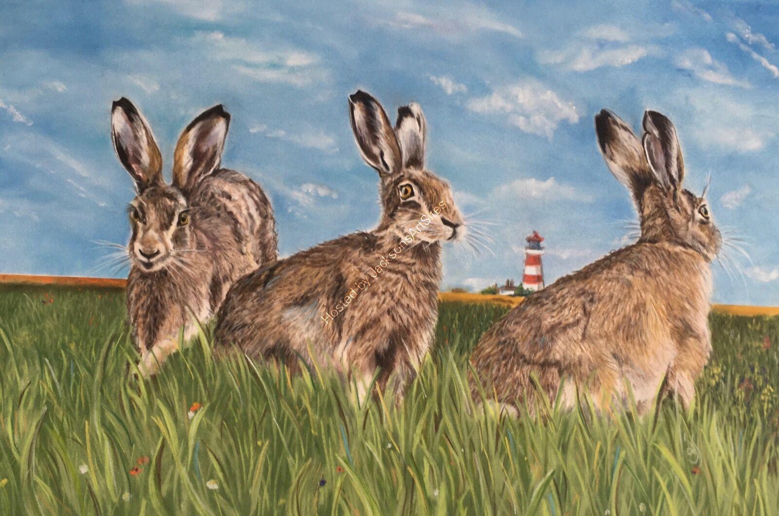 Happisburgh Hares (Original for sale, framed POA)
