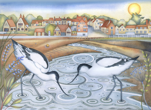 Avocets at Low Tide (print and card)