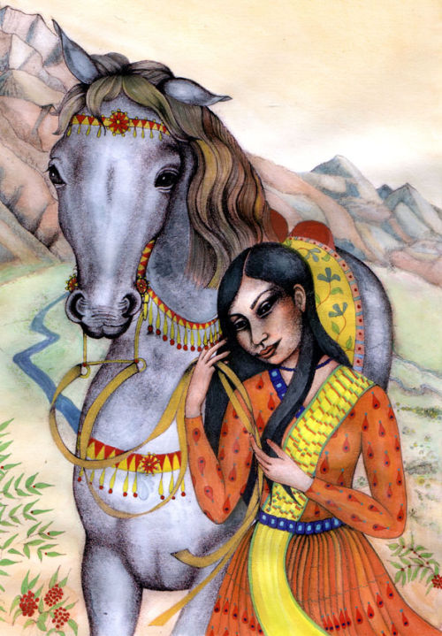 Aziza and her trusty horse (book illustration).