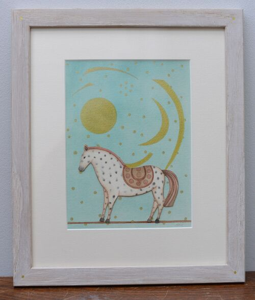 Cave Horse. Framed collage mixed media painting on paper.